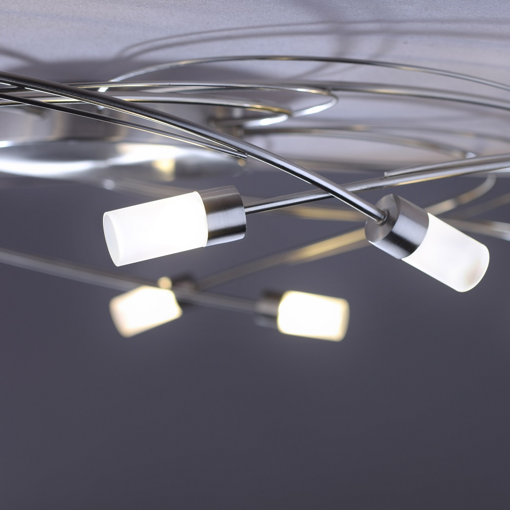 LED Deckenleuchte, Stahl- o. Rostfarbig, 10-flammig, Simplydim