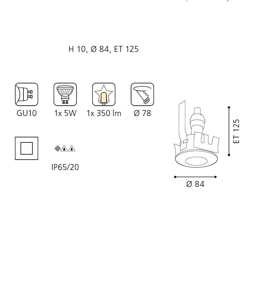LED Einbauleuchte, Ø 8,4cm, Einbautiefe 12 cm, 2 Farben