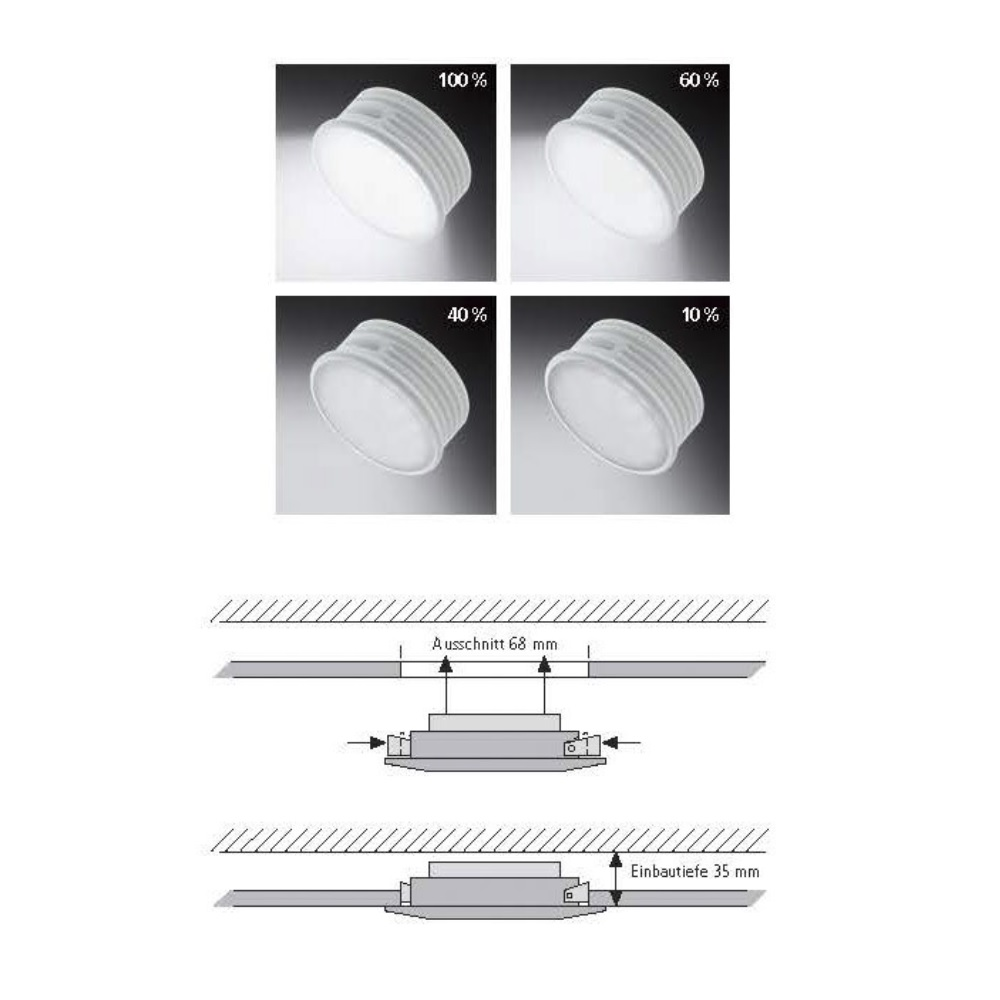 LED Einbaustrahler Lumeco Chrom  dimmbar
