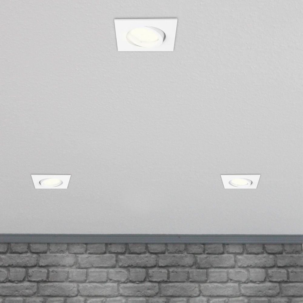 LHG LED Einbaustrahler, Deckenstrahler, 5er-Set, Weiß, eckig