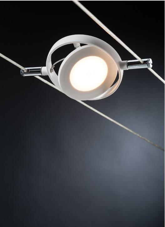 LED Komplett-Seilsystem, Chrom-Weiß, 6x 4Watt Spots