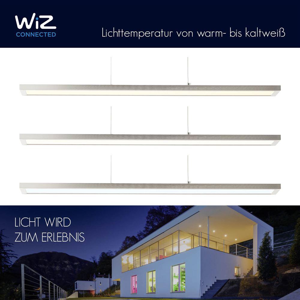 LED Pendelleuchte, L 90 cm, Smart Home, Lichtfarbe steuerbar, nickel