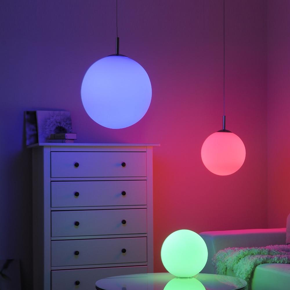 LED Tischleuchte, Glas, Kugelleuchte, RGB, inkl. Fernbedienung, D= 25cm