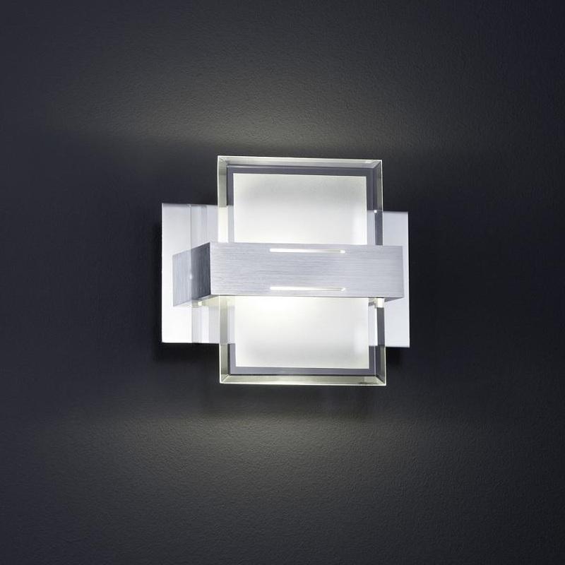 LHG LED Wandleuchte, silberfarbig, Glas, eckig, 1-flammig, LED warmweiß