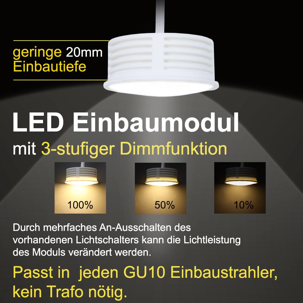 LED-Einbaustrahler 5er Set aus Alu-Schwarz, 3-fach dimmbar