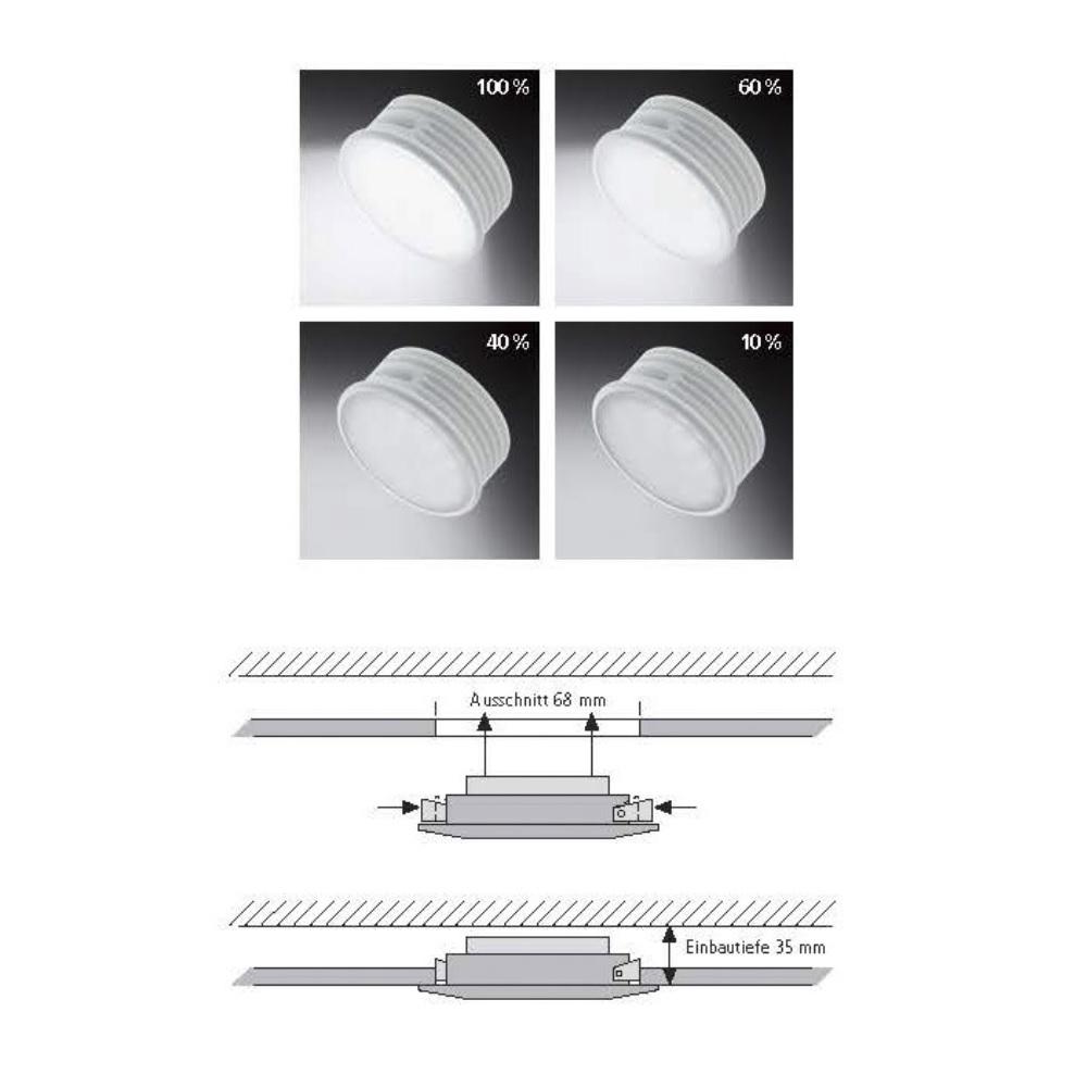 LED-Einbaustrahler, Chrom, 4-stufig dimmbar, warmweiß