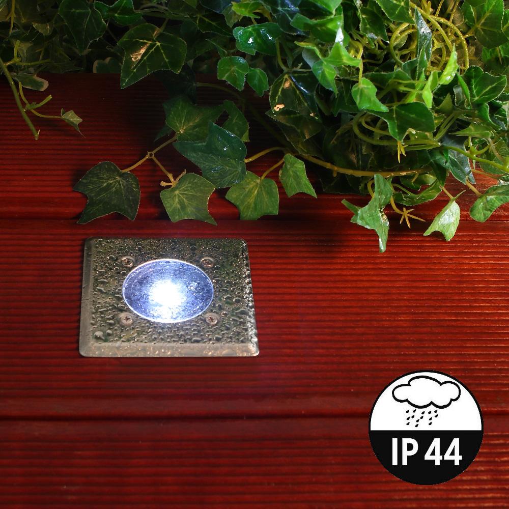 LHG LED-Solar-Bodeneinbauleuchte, 2er Set, eckig, Edelstahl, trittfest