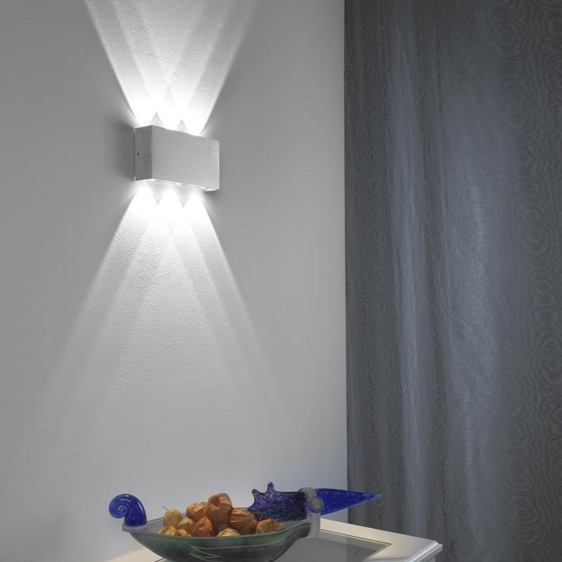 LHG LED Wandleuchte Streem, Innen & Außen, Up & Downlight, eckig, Aluminium gebürstet, 6-flammig, 6000 Kelvin tageslichtweiß