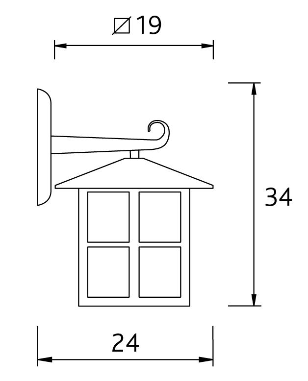 LHG rustikale Außen-Wandleuchte rostfarbig landhausstil, aus Aluminium mit Acrylglas, eckig, H: 34 cm, E27 max. 100W