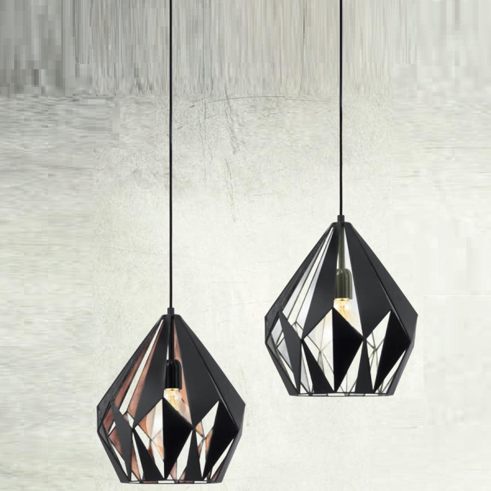 Pendelleuchte Carlton Schwarz mit Silber oder Kupfer