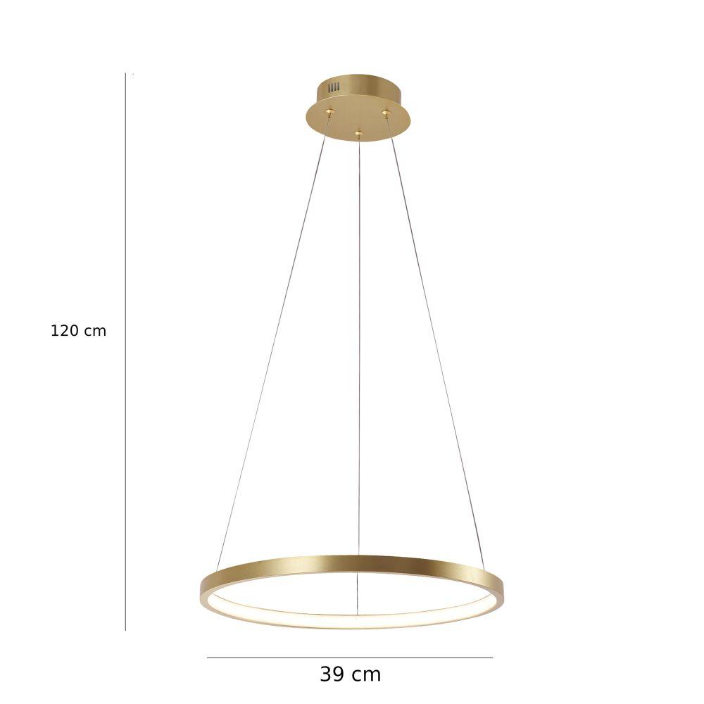 Runde LED Pendelleuchte gold o. silber, Kreis D= 39 cm, inkl. LED 19W