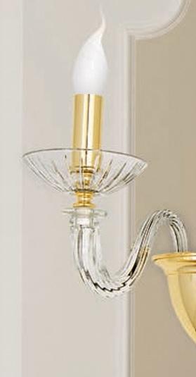 Schlichter Wandleuchter - Chrom oder Gold 24 K - 1- oder 2-flammig