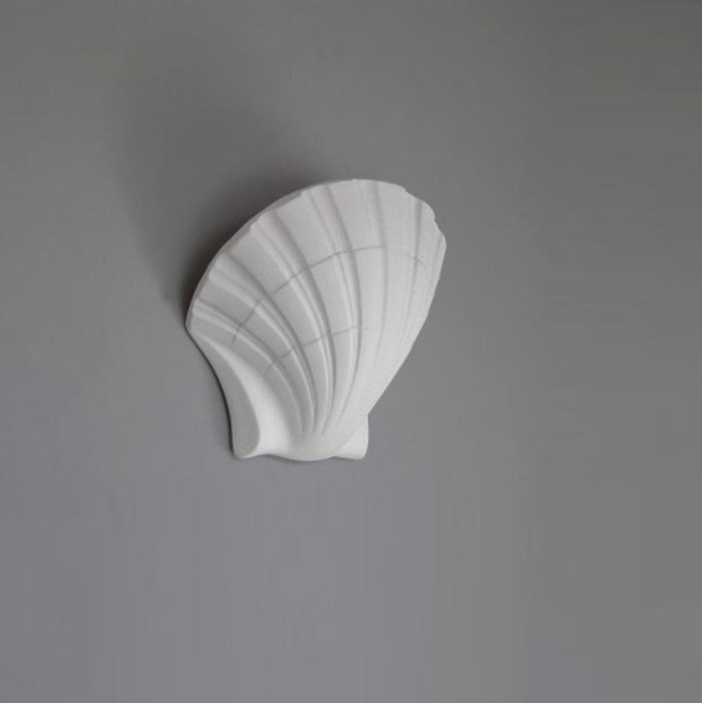 Wandleuchte, Muschel, Gips,  D=36cm, Weiß