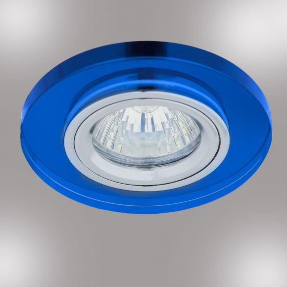 LHG 1-flg. Einbaustrahler rund mit Glas blau, Halogen GU10 35W