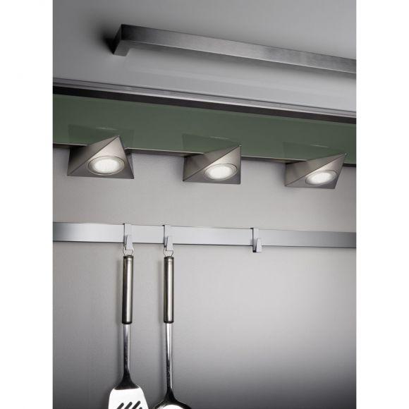 3er Set  LED Unterbauleuchte chrom / silber inkl. 3x LED 9W 3000K warmweiß ideal für Küche oder Schrank