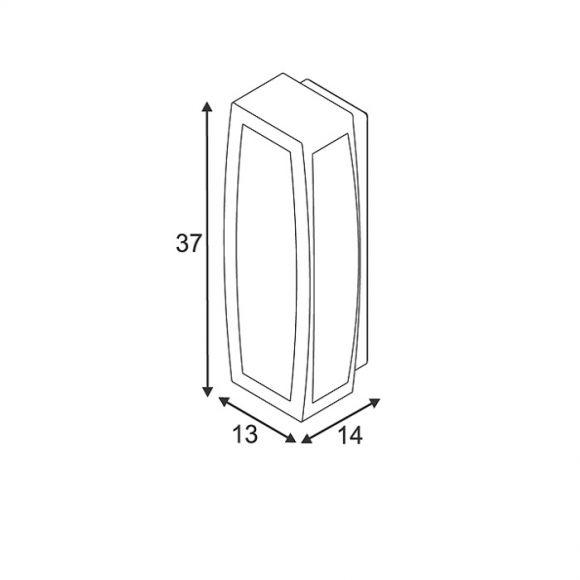 Außenwandleuchte Aluminium mit UV beständigem Kunststoffglas