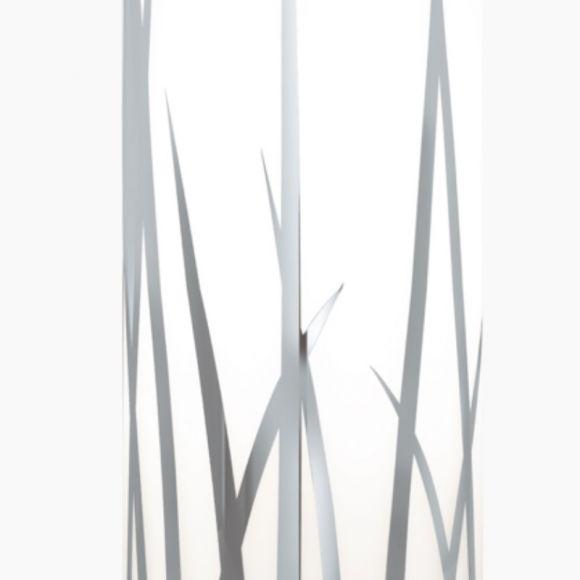 Chrom, Pendelleuchte mit weißem Dekorglas 3-flammig