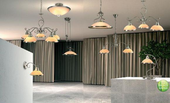 LHG Deckenleuchte in Altmessing, mit Glasschirm in Amber, inklusive E 27 Leuchtmittel