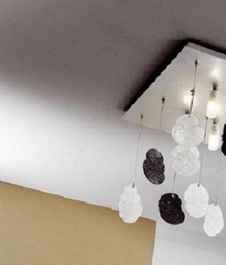 Deckenleuchte, Blattsilber, Glasbehang, quadratisch, modern