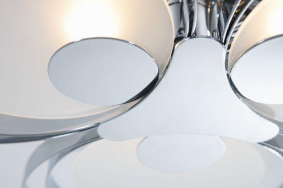 LHG Deckenleuchte, Chrom, indirekt, modern, runde Kreise, D 52,3 cm