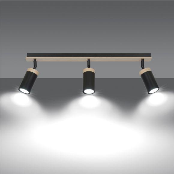 LHG Deckenstrahler, 3-flammig, schwarz holz, inkl. LED 3x 4 W GU 10
