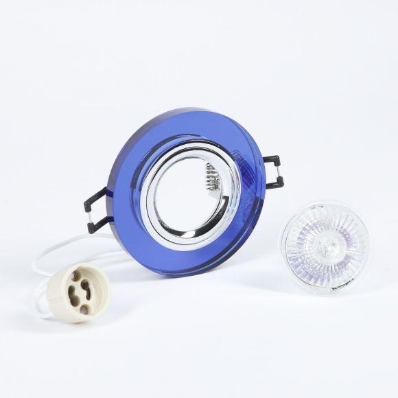 LHG Einbaustrahler rund mit Glas blau, 3er-Set Halogen GU10 35W
