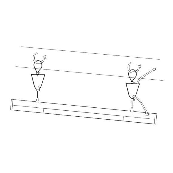 Flache Büro-Pendelleuchte in aluminiumfarben, 130 cm