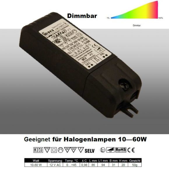 hochwertiger dimmbarer elektronischer tronic trafo 10 60va f r niedervolt halogenlampen von 10. Black Bedroom Furniture Sets. Home Design Ideas