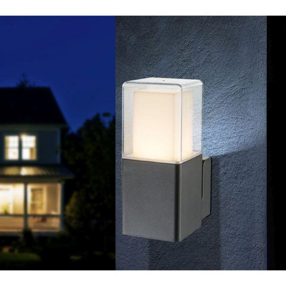 LED Außenwandleuchte opal klar Außenwandlampe schwarz IP44