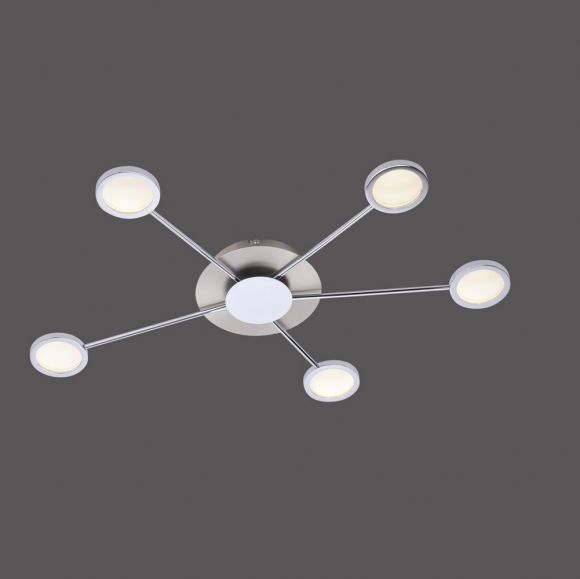 LED Deckenleuchte 5-flammig aus Stahl und Chrom