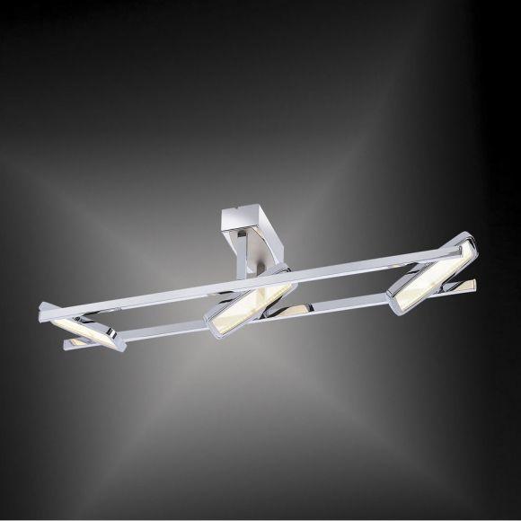 LED Deckenleuchte, Chrom, Glas, Schwenkbar, 3 flammig, warmweiß