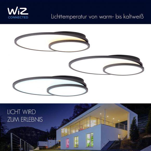 LED Deckenleuchte, Panel, Ringe,schwarz, Smart Home steuerbar, 61x45cm