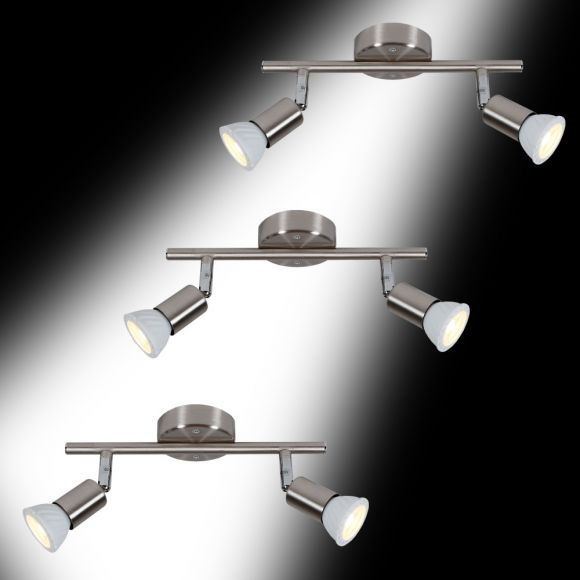 led deckenstrahler 2 flammig als starterset f r die 1 wohnung 3 x deckenspot wohnlicht. Black Bedroom Furniture Sets. Home Design Ideas