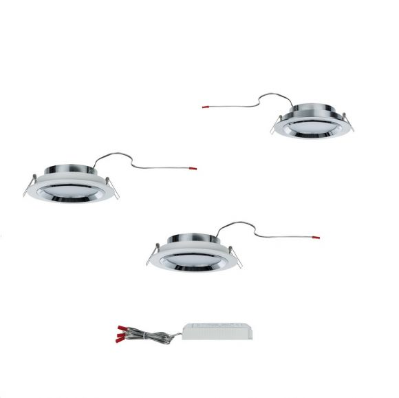 LED Einbauleuchten 3er Set, je 8W, Weiß/Chrom oder Alu