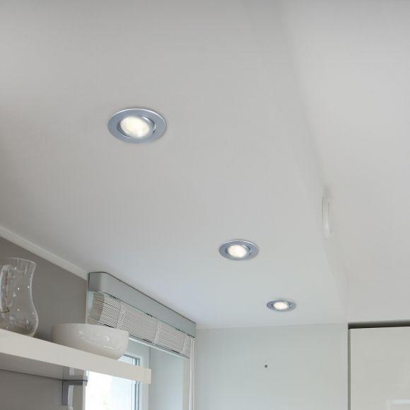 LED Einbaustrahler, 3er Set, rund, schwenkbar, Aluminium, LED warmweiß