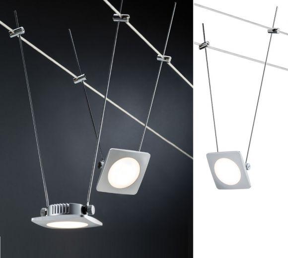 LED Komplett-Seilsystem, Chrom-Satin, 5x 4Watt Spots