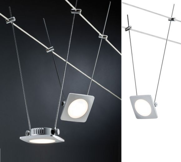 led komplett seilsystem chrom satin 5x 4watt spots wohnlicht. Black Bedroom Furniture Sets. Home Design Ideas