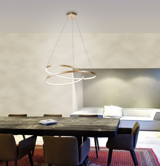 LED Pendelleuchte, Blattgoldoptik, Simply Dim Funktion, D=55 o. 72 cm