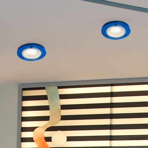 LHG LED-Einbaustrahler rund, Glas blau, dimmbar, 1x GU10 5W