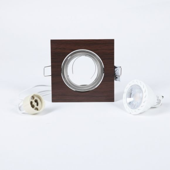 LED-Einbaustrahler Wengeholz eckig, Set inkl Fassung und LED Leuchtmittel 5W, Dimmbar
