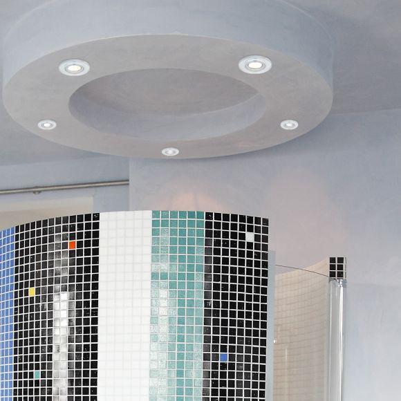 LHG LED-Einbaustrahler, Glasrahmen, rund, dimmbar, 5er Set, warmweiß