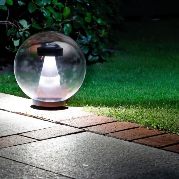 LHG LED-Kugelleuchte transparent IP44, 25 cm mit Erdspiess