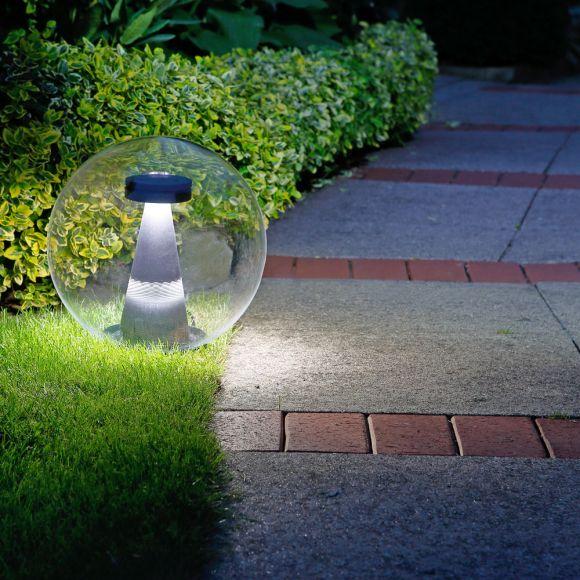 LED-Kugelleuchte transparent IP44, 30 cm mit Erdspiess