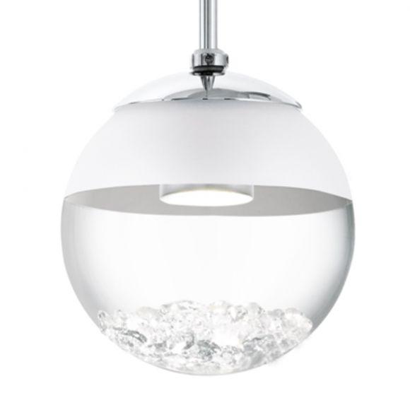 led pendelleuchte mit klarer glaskugel und kristallen 1 flammig wohnlicht. Black Bedroom Furniture Sets. Home Design Ideas