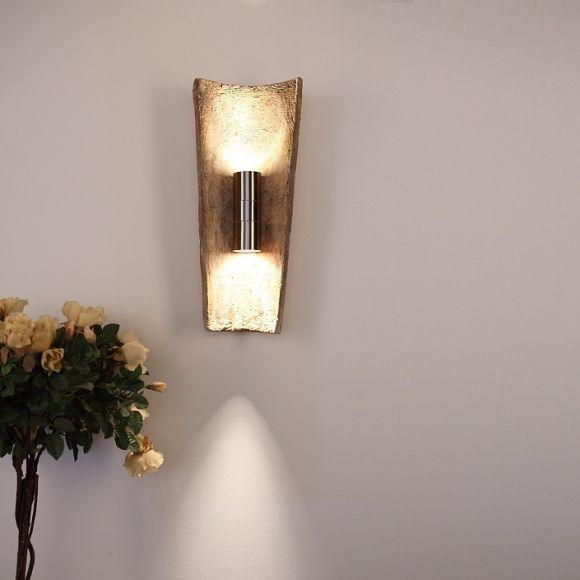 LHG Dachziegel Außen-Wandleuchte Up & Down, im Landhausstil - ein Toskanischer Traum mit 100 Jahre altem Nonnenziegel, IP44, Edelstahl, Wandlampe