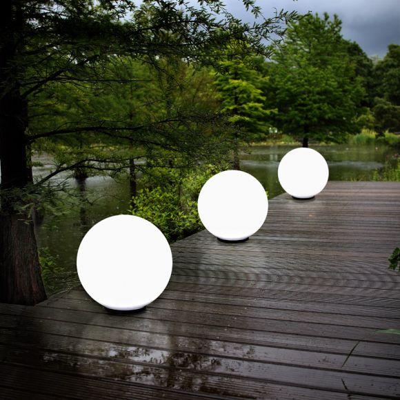 LHG Kugelleuchten 3er Set 3x 50cm für Außen mit Stromkabel, Gartenleuchten, Garten Kugellampen aus weißem Kunststoff, IP44 Outdoor geeignet, E27 Fassung