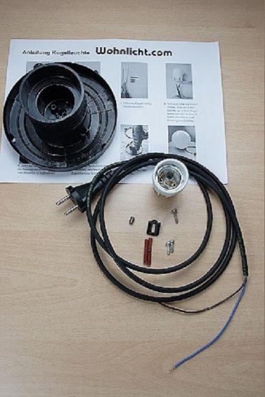 LHG Kugelleuchten 3er Set 2x 30cm & 1x 50cm für Außen mit Stromkabel, inkl. E27 LED, Garten Kugellampen aus weißem Kunststoff, IP44 Outdoor geeignet, E27 Fassung