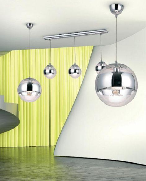 LHG Pendelleuchte Glas und Chrom Hängelampe in Ø  30cm