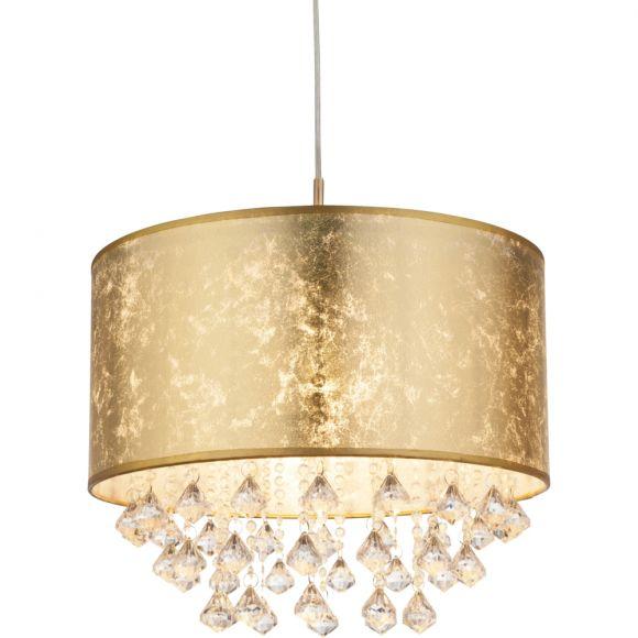 Pendelleuchte, Hängeleuchte, Stoffschirm, Gold, Kristall, E 27 60 Watt
