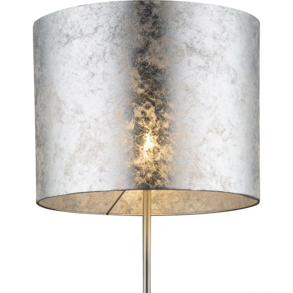 runde E27 Stehleuchte aus Stoff matt Sockel und Schirm Höhe 31 cm Stehlampe silbermetallic mit Schalter ø 40